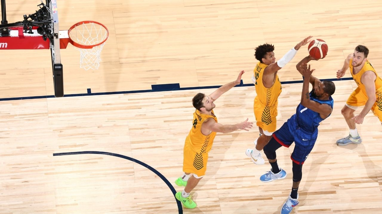 """""""Kevin Durant's fadeaway attempt was rejected by Matisse Thybulle"""": Team USA forward suffers an embarrassing block during the exhibition game loss against Australia"""