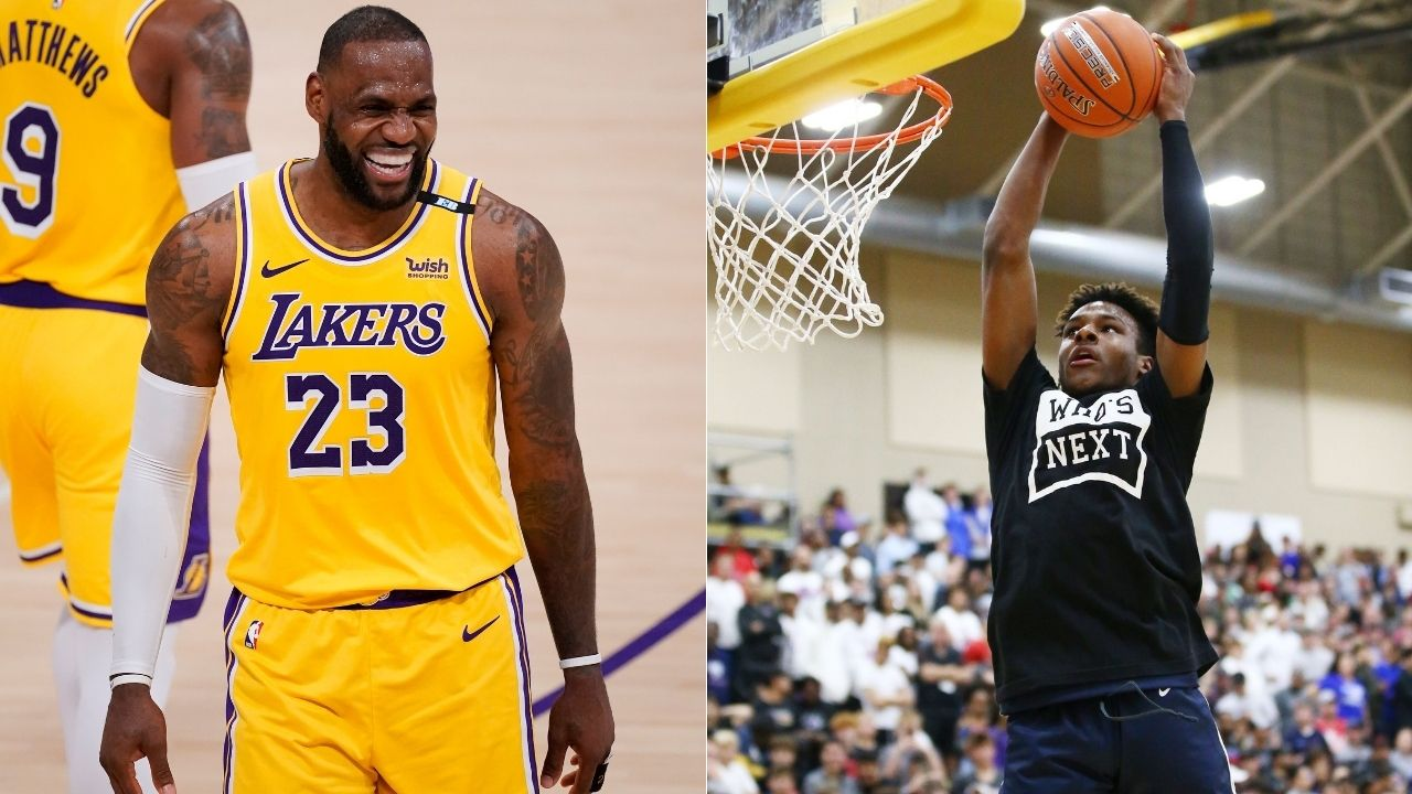 """""""LeBron James would by hyped!"""": Bronny James bring the backboard down off alley-oop pass from Bryce during promo for Lakers star's Space Jam 2 release"""