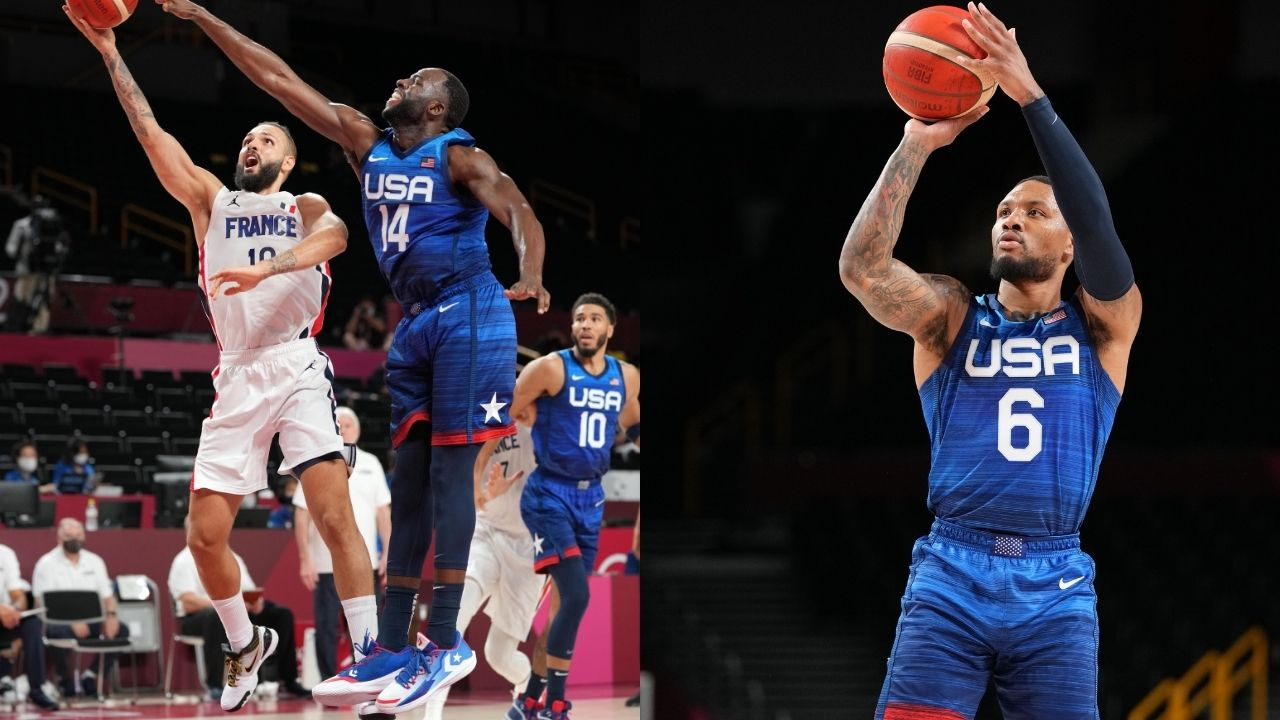 """""""Draymond Green gave up a wide-open layup for a Damian Lillard 3"""": Mikal Bridges tries to justify the Warriors star getting bailed out by the Team USA guard in win over Iran"""