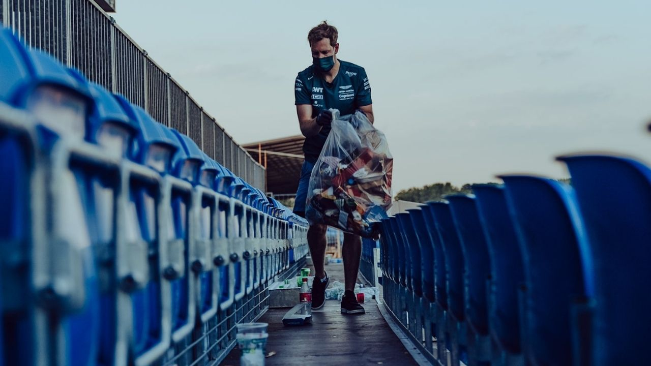 """""""Sebastian Vettel stayed behind with a group of fans""""– Aston Martin superstar picks up litter from stands at Silverstone"""