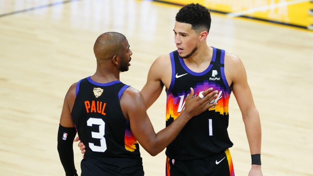 """""""What are they hiding?!"""": Cameras catch Chris Paul and Devin Booker drinking 'secret stuff' during game one of the NBA Finals"""