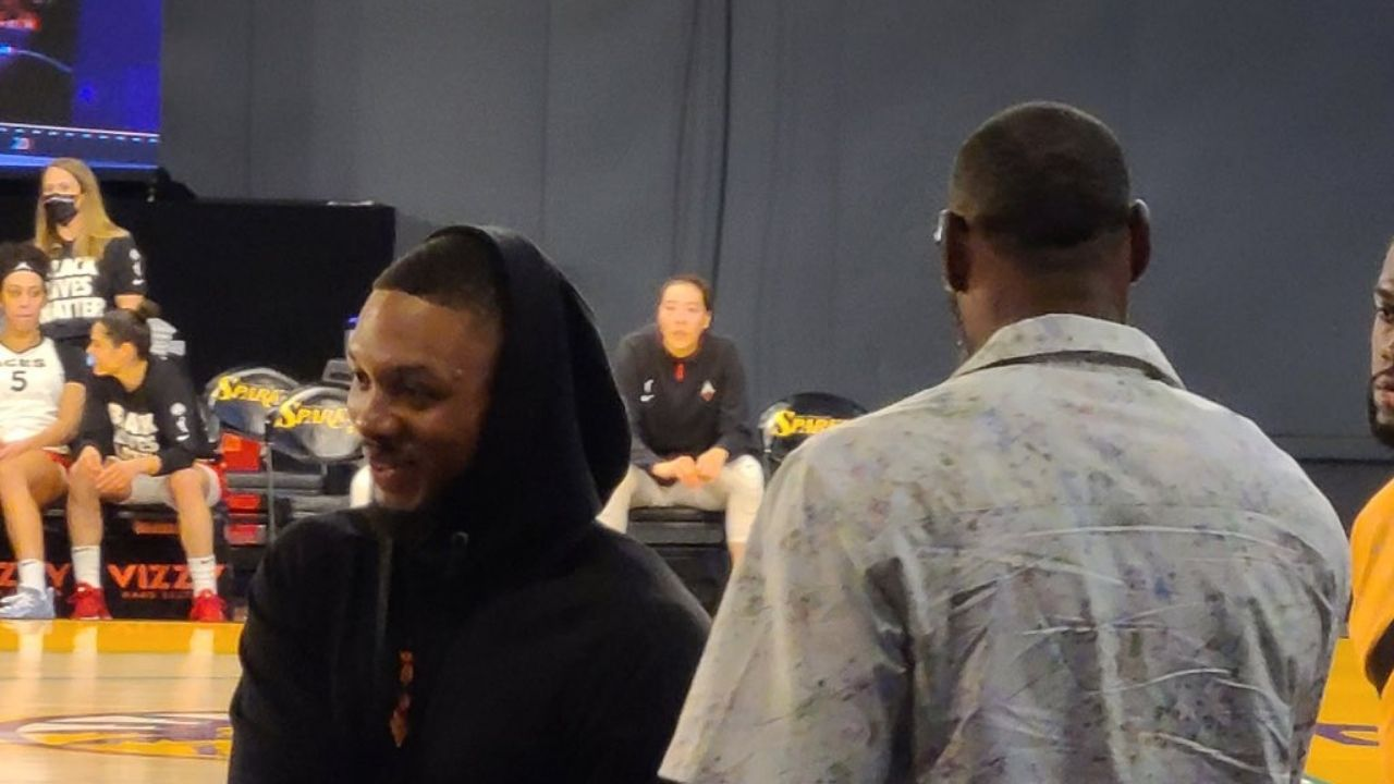 """""""LeGM is actively recruiting Damian Lillard to the Lakers"""": Trade rumors sparked as LeBron James was spotted with the Blazers star at the Aces vs Sparks game"""