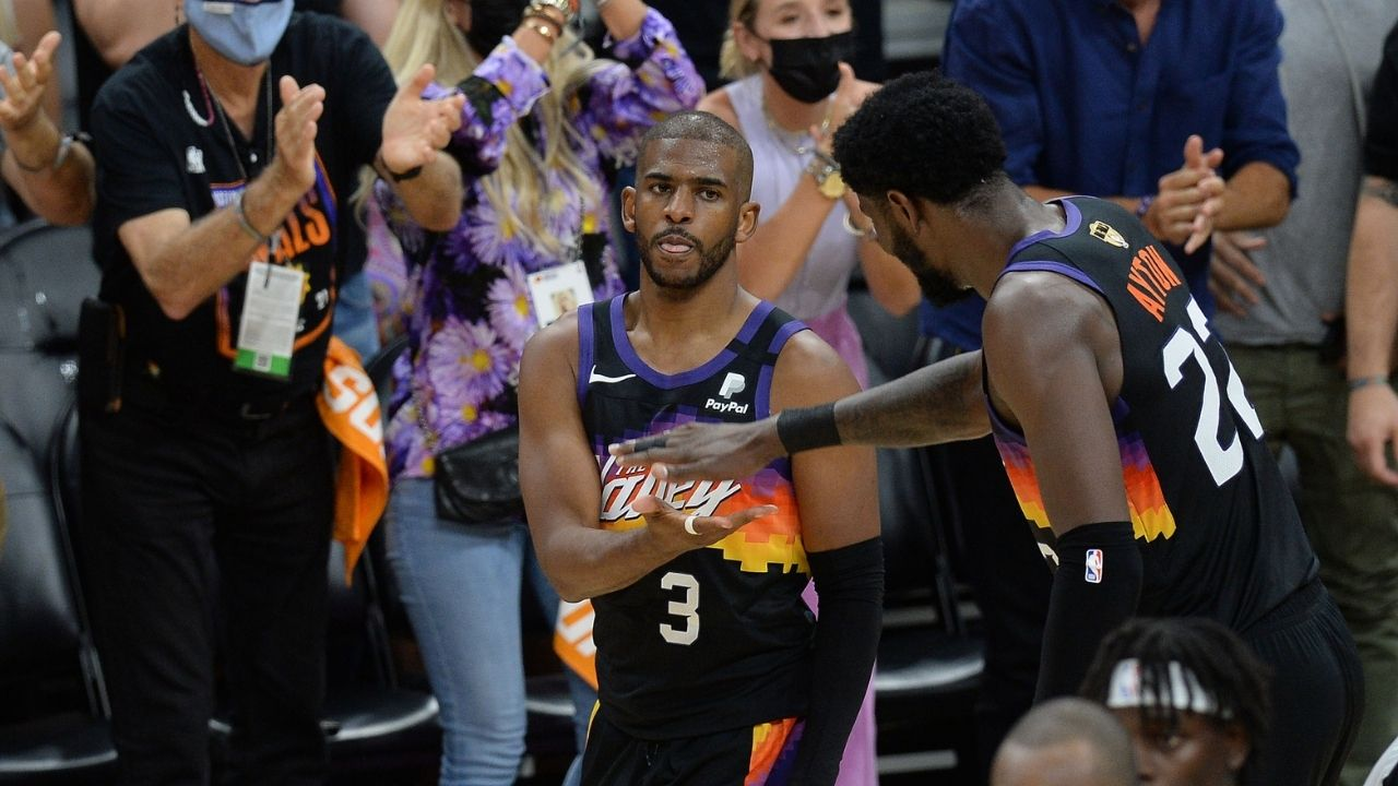 """""""Ayo Chris Paul, what are you doing man?"""": NBA Twitter loses its mind as CP3 steals the 20th rebound from Deandre Ayton in Game 1 of the NBA Finals"""