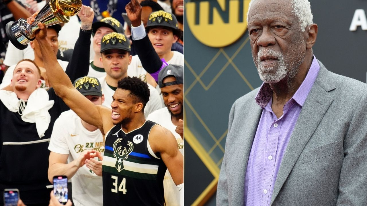 """""""I like how Giannis Antetokounmpo takes care of that FMVP trophy and his teammates"""": Bill Russell lauds the Bucks star for distributing cigars to his team while clinging to his MVP trophy"""