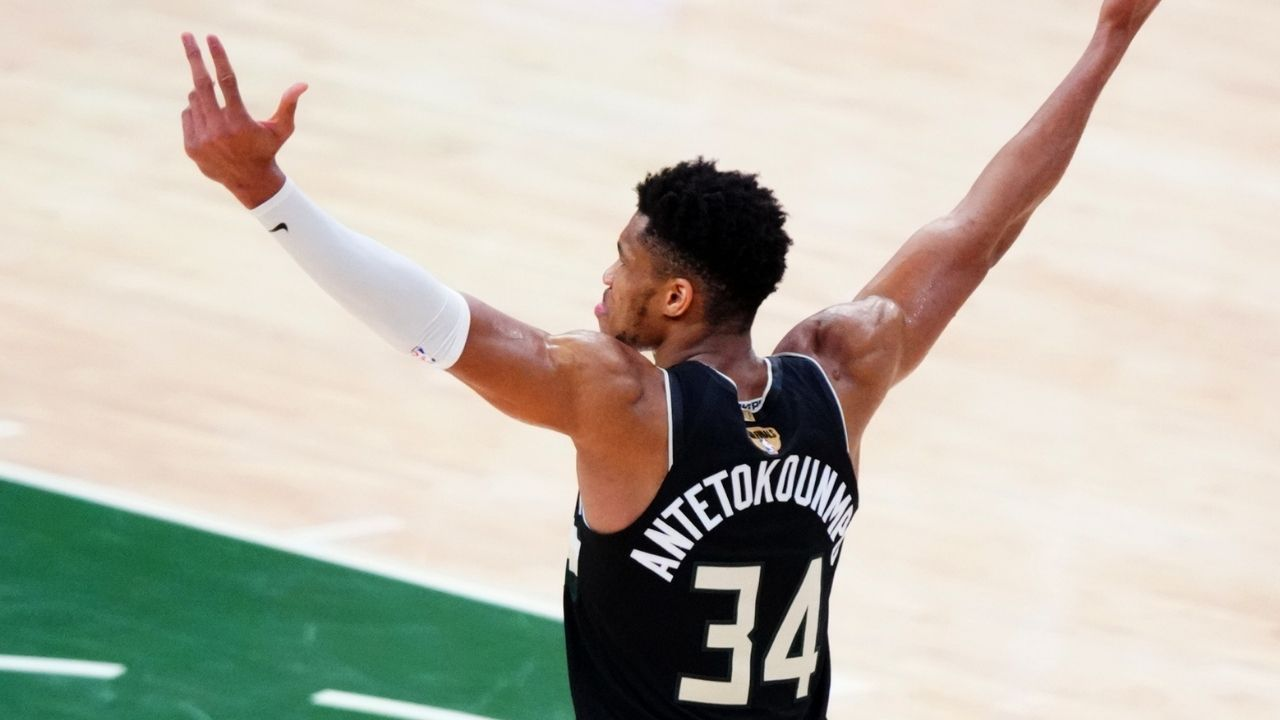 """""""Giannis had the best NBA Finals performance since LeBron James in 2018 Game 1"""": NBA fans compliment Bucks' Finals MVP after record-breaking performance vs Devin Booker and co in Game 6"""
