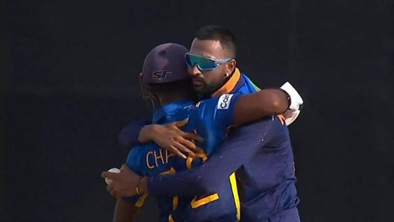 Krunal Pandya hug: Krunal hugs Charith Asalanka in lovely 'Spirit of Cricket' moment in Colombo ODI