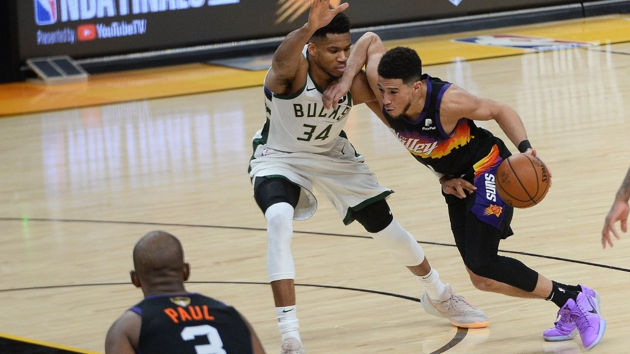 """""""Devin Booker has a killer will"""": Skip Bayless takes shots at Giannis, heaps praises of the Suns star owing to his performance in Game 2 of the NBA Finals"""