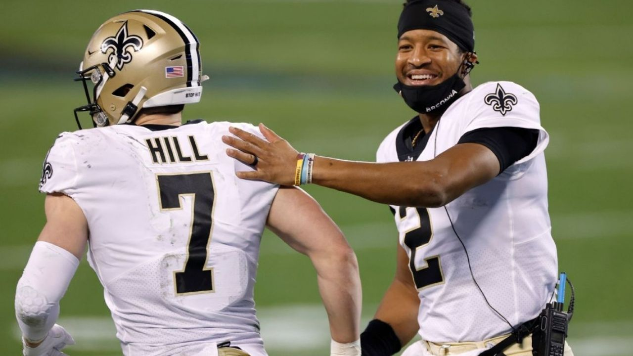 """New Orleans Saints Starting QB 2021: GM Mickey Loomis says """"We're really excited and high on Taysom Hill just as we are on Jameis Winston"""""""