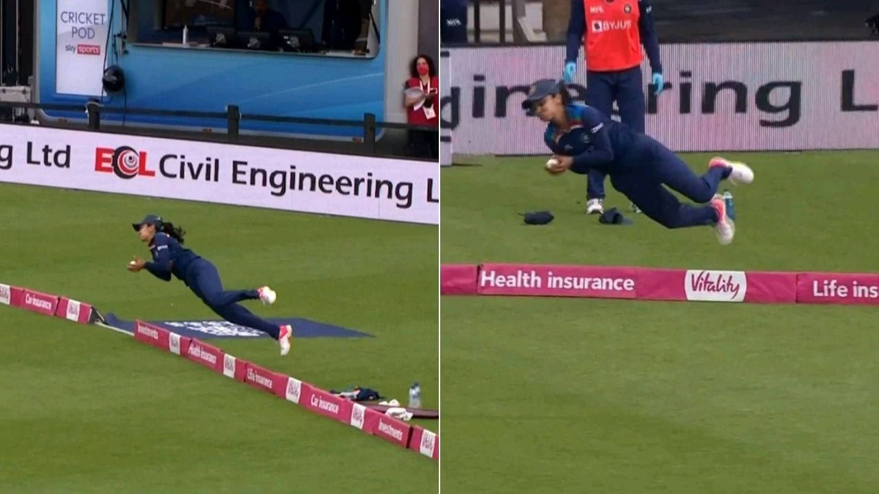 Harleen Deol catch video: Harleen grabs unbelievable boundary catch to dismiss Amy Jones in Northampton T20I