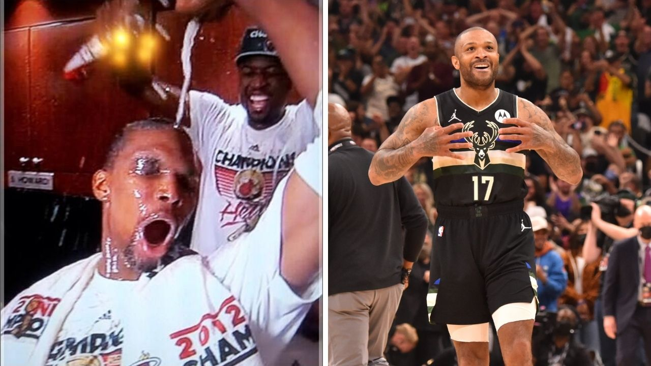 """""""Chris Bosh or PJ Tucker?"""" NBA fans just can't decide who wins at being the bigger party animal between the Bucks star and the Heat legend"""