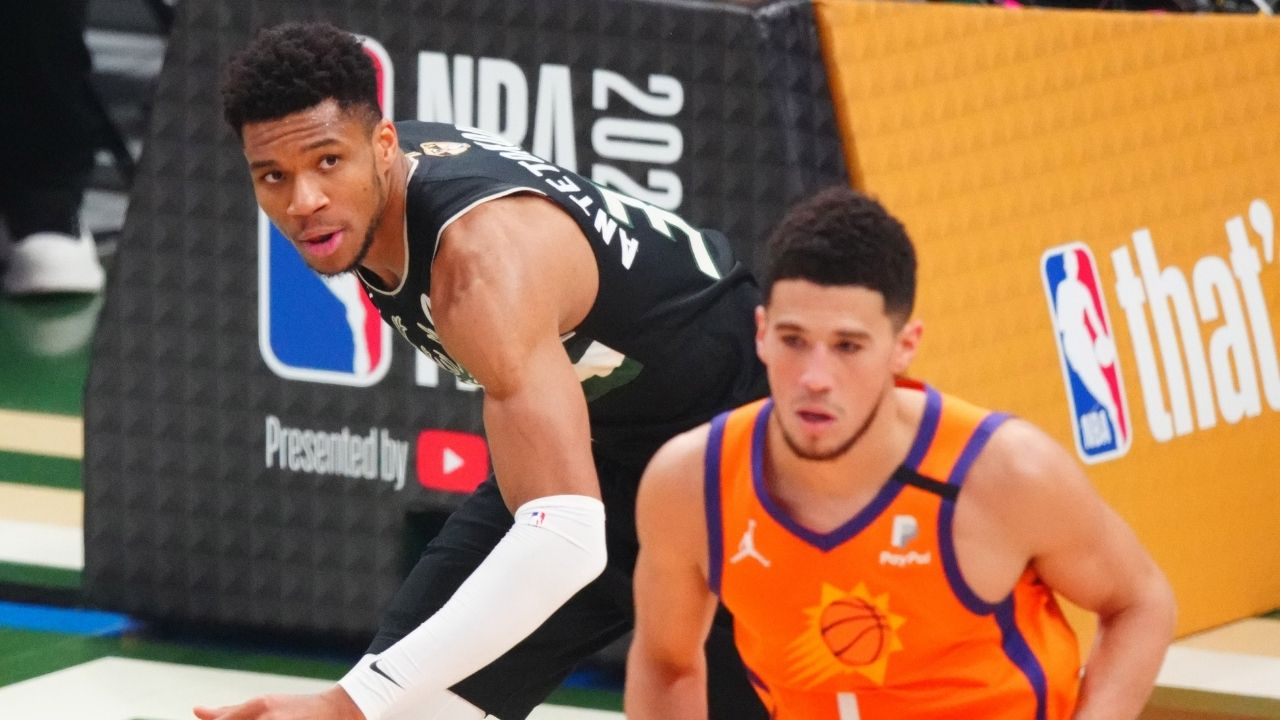 """""""I hope Devin Booker got his dad, Giannis Antetokounmpo's approval"""": NBA Twitter ruthlessly roasts Suns star after he shockingly changes his haircut ahead of the Olympics"""