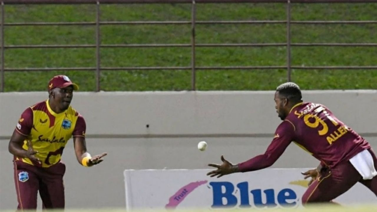 DJ Bravo and Fabian Allen catch: West Indian pair join hands to grab excellent rebound catch to dismiss Aaron Finch in 3rd T20I