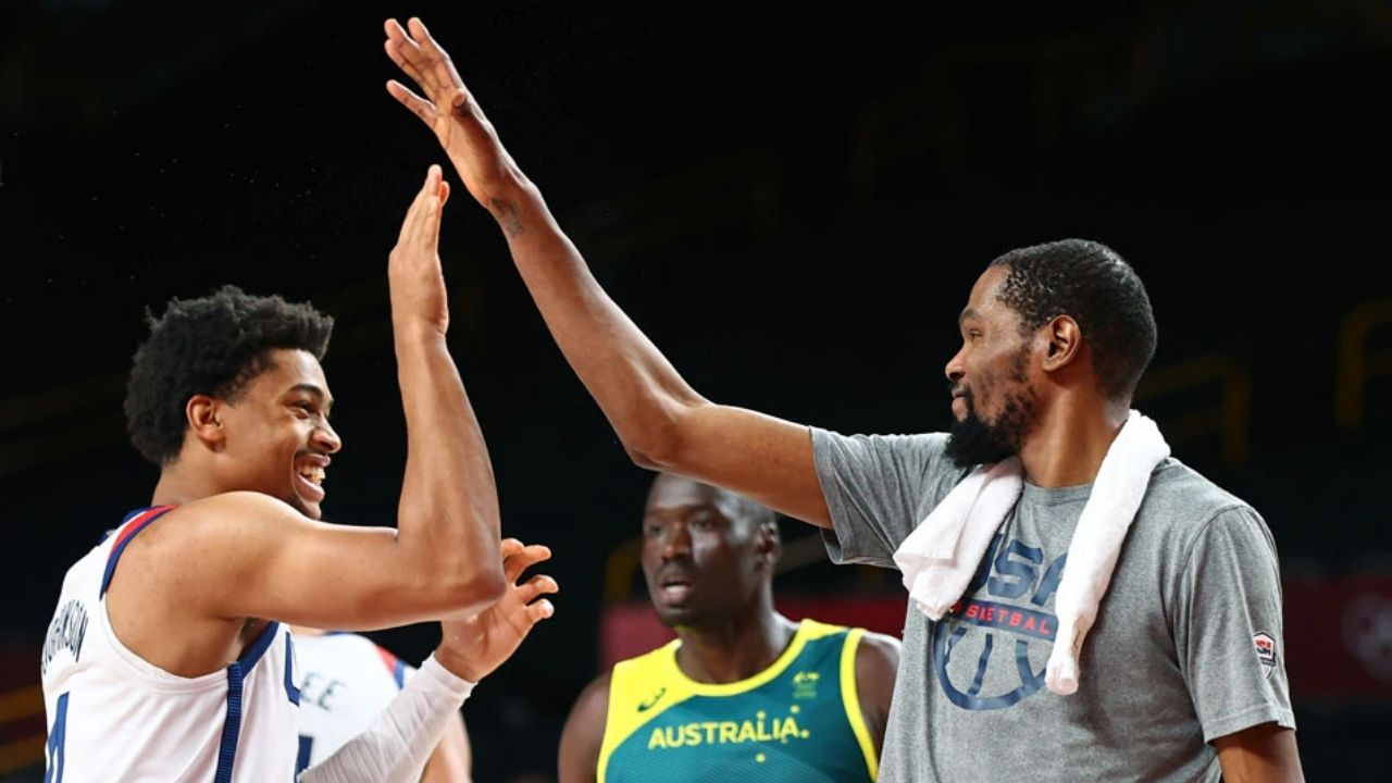 """""""Keldon Johnson, get your a** over here"""": Kevin Durant shows leadership after leading Team USA to a Semi-Finals win over Australia"""
