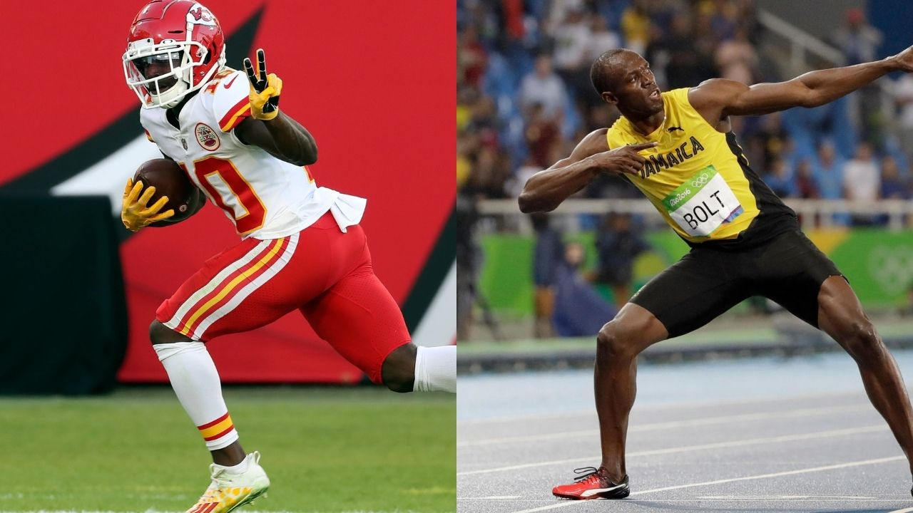 """""""Tyreek Hill one has one ring, so he's probably scared"""": Usain Bolt claims Chiefs WR doesn't have the guts to wager his Super Bowl ring in a race."""