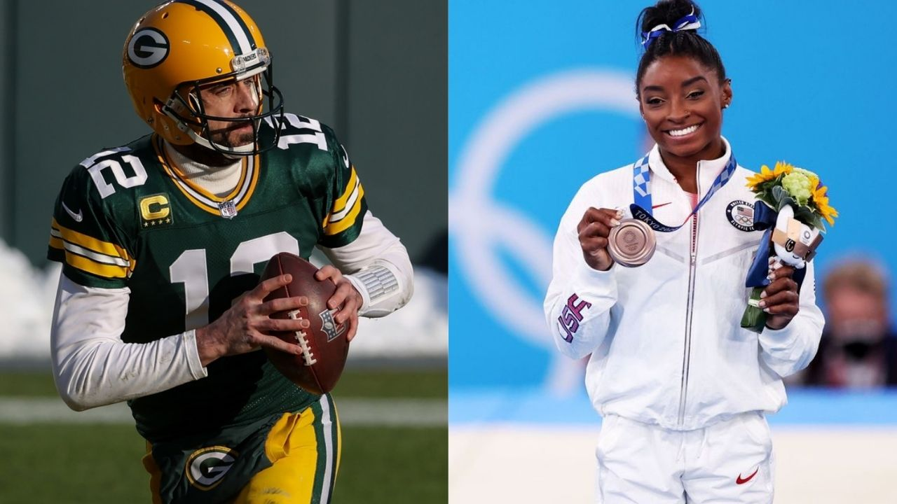 """""""Great interview Simone Biles, you are the GOAT"""": Aaron Rodgers Praises Simone Biles After Her Bronze Medal at the Tokyo Olympics"""