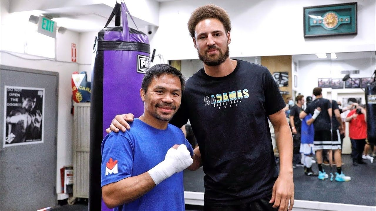 """""""Wear these shoes, and you'll shoot better than Stephen Curry!"""": Warriors' star Klay Thompson jokes with boxing legend Manny Pacquiao during their workout session together"""