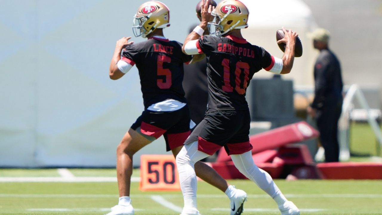 """San Francisco 49ers QB: Kyle Shanahan says """"I don't know if any rookie can beat out"""" Jimmy Garoppolo"""