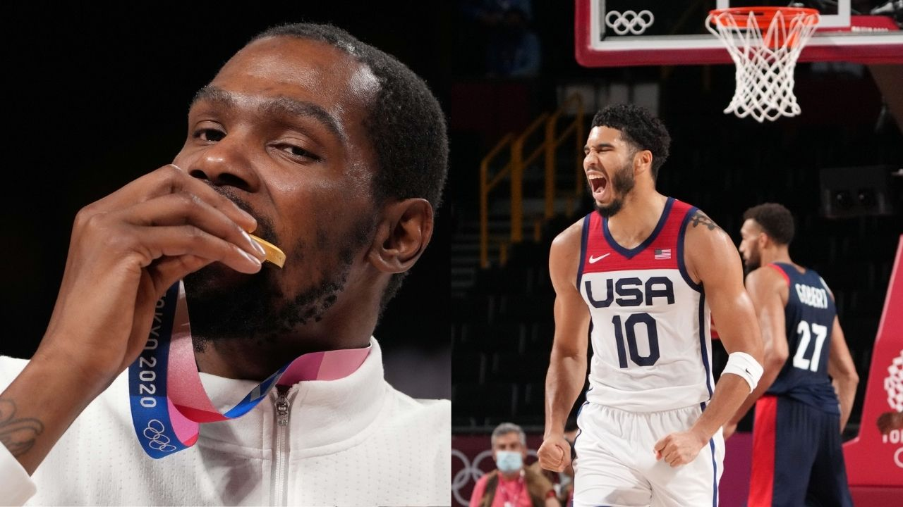"""""""I'm old as hell"""": Kevin Durant shares throwback pictures with Jayson Tatum from 2014, 3 years before Celtics star was drafted, after Team USA win gold at Tokyo 2020"""