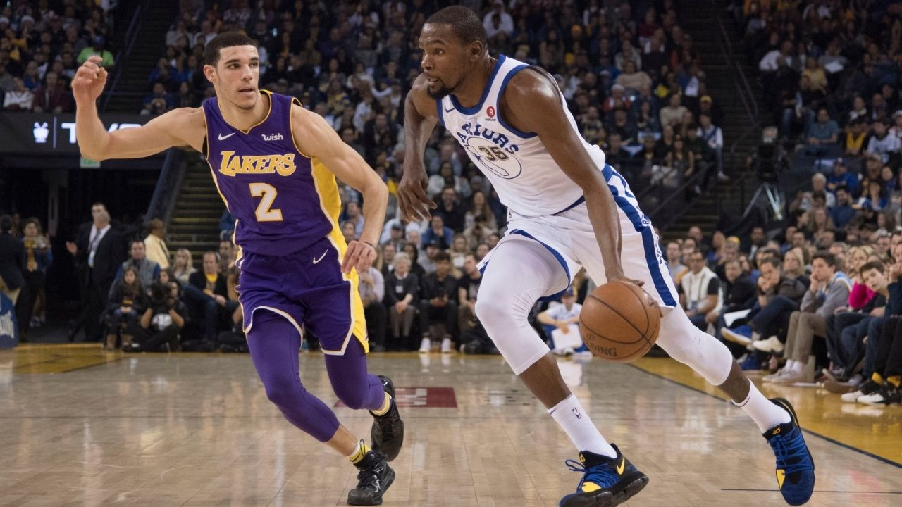 """""""Kevin Durant is a top-5 1v1 player ever"""": Lonzo Ball places KD alongside Michael Jordan, Kobe Bryant, reminisces about Durant hitting a game-winner vs Lakers on Kobe's jersey retirement day"""