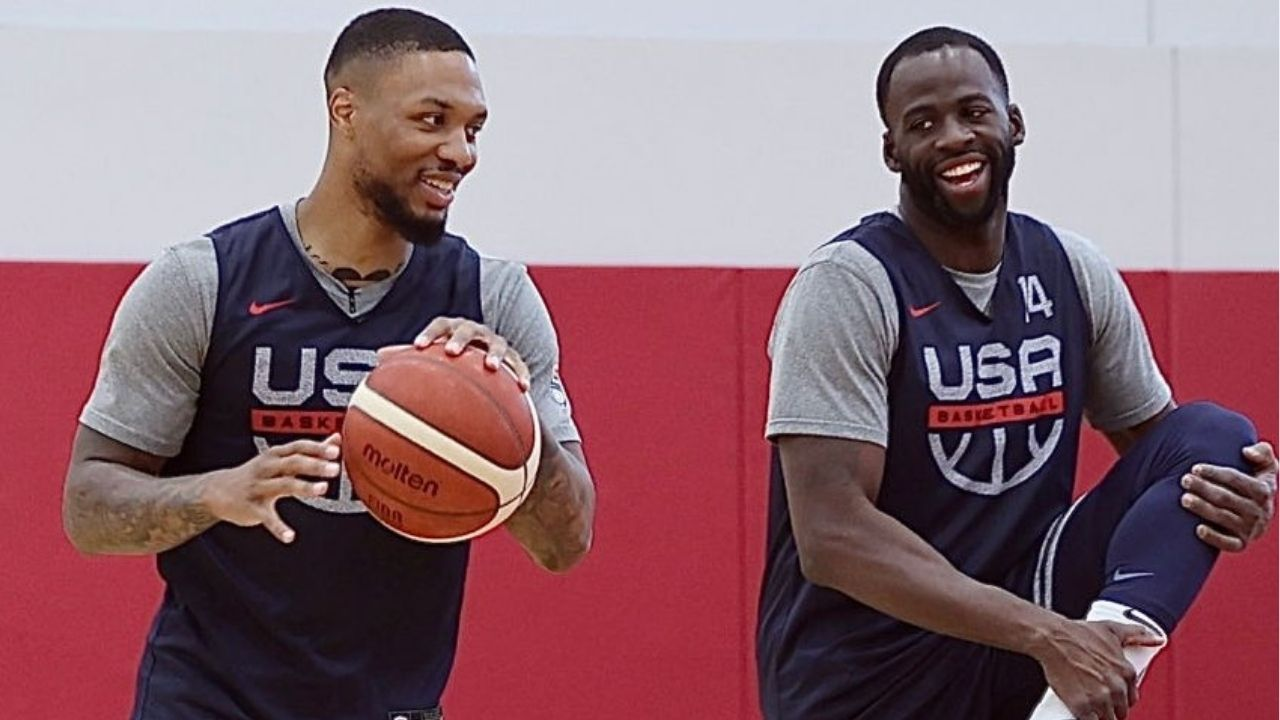 """""""Damian Lillard is using is wedding to recruit Draymond Green'!"""": Fans claim that the Blazers' superstar is using his special day to lure the Warriors' star to Portland"""