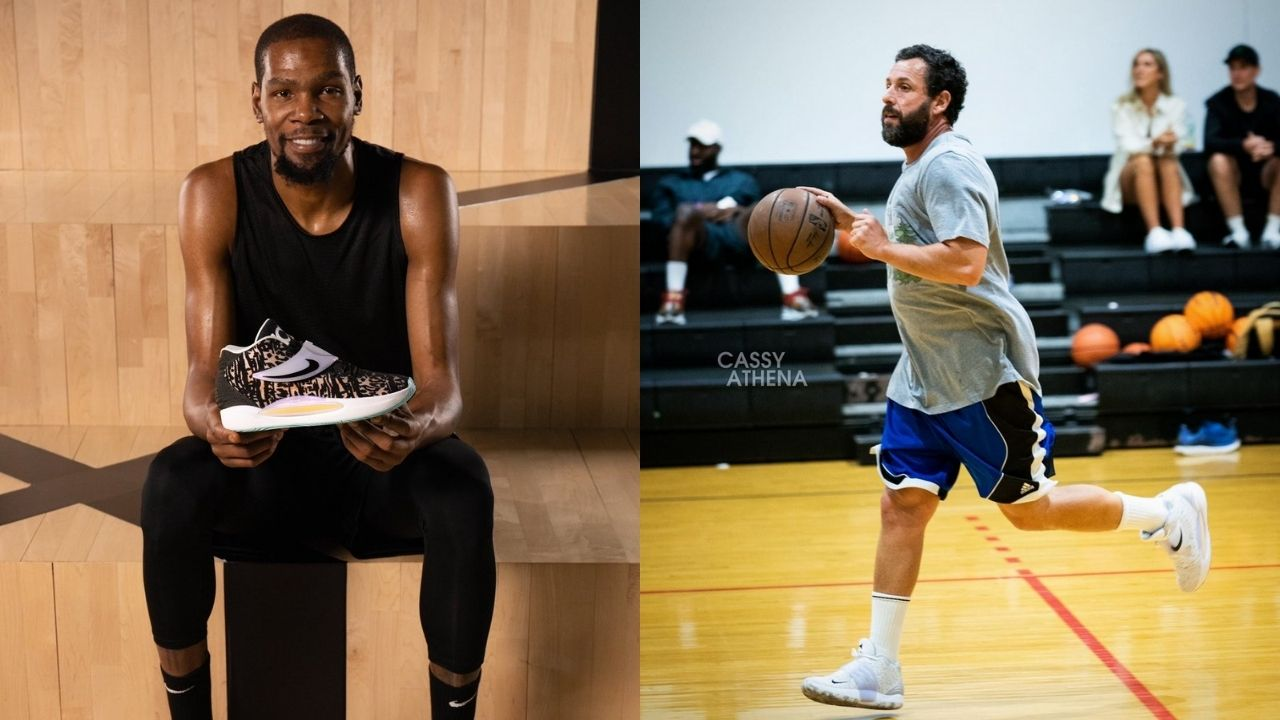 """""""Adam Sandler reps Brooklyn as he's spotted balling in KD14s"""": Hustle's star was copping Kevin Durant's latest signature shoe"""