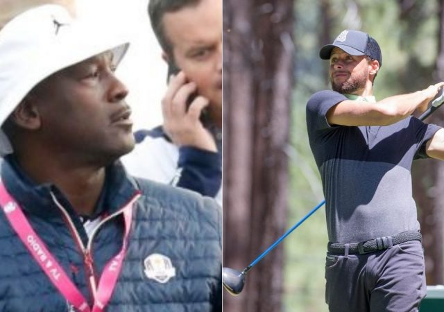 """""""Michael Jordan and Stephen Curry are talking about how they both own LeBron James"""": NBA Twitter goes crazy as the GOAT and the Warriors MVP sit together at the Ryder Cup"""