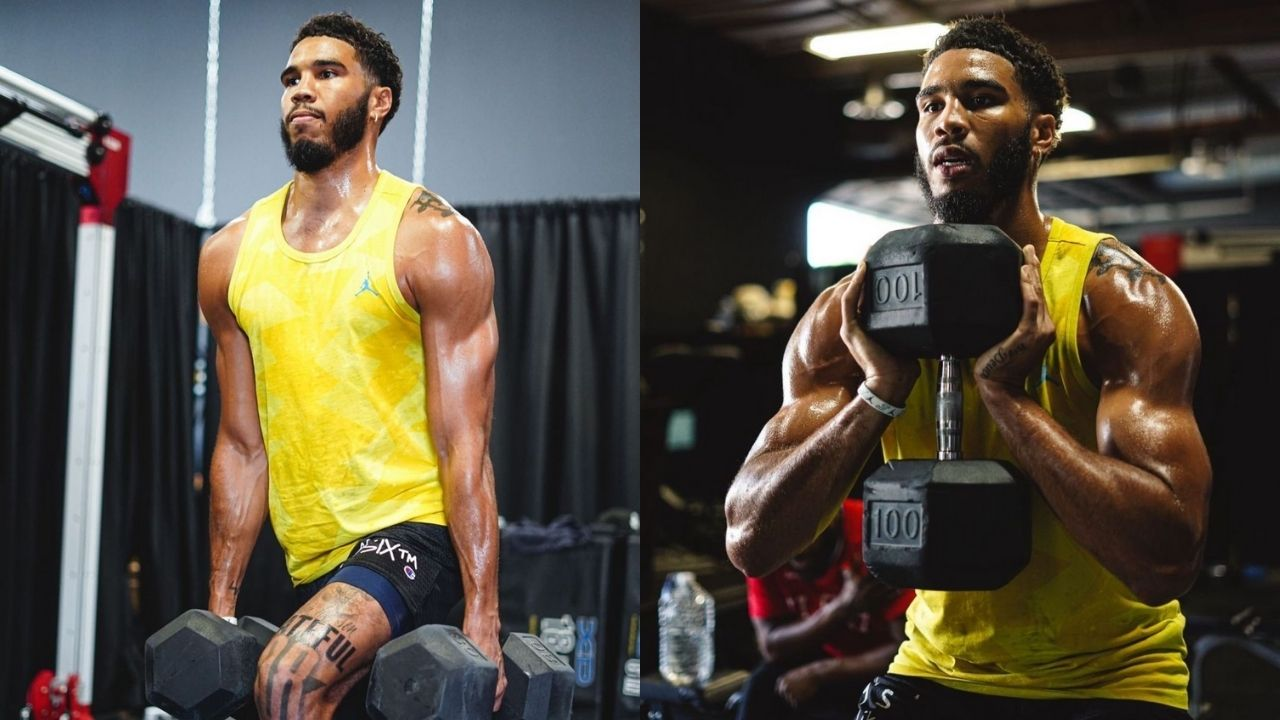 """""""Jayson Tatum is bulking up the same way Giannis Antetokounmpo did"""": Gym photos of the Celtics' star stun fans as JT bulks up for the upcoming season"""