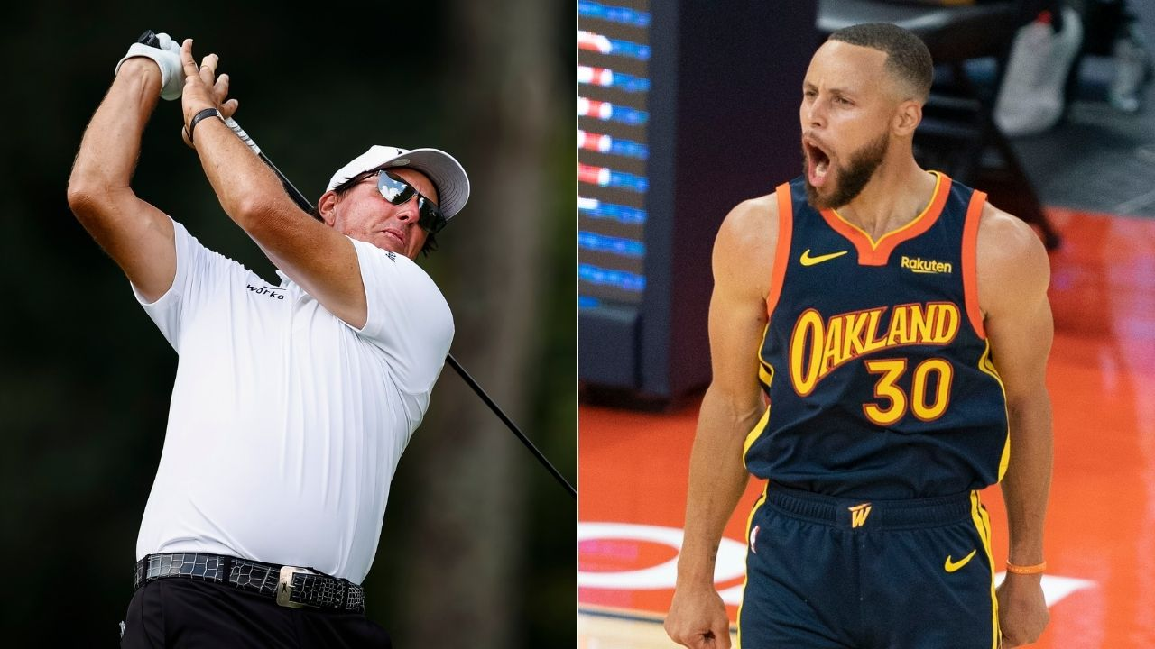 """""""Stephen Curry causes panic being the subject of Phil Mickelson's experiment!"""": Lefty's famous flop shot over the 3x NBA champion has Dub Nation filled with fear"""