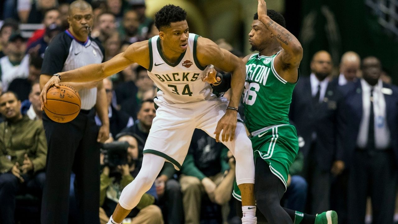 """""""They call Giannis Antetokounmpo the Greek Freak for a reason!"""": Marcus Smart throws up hands in despair describing Bucks Finals MVP's skillset and mentality"""