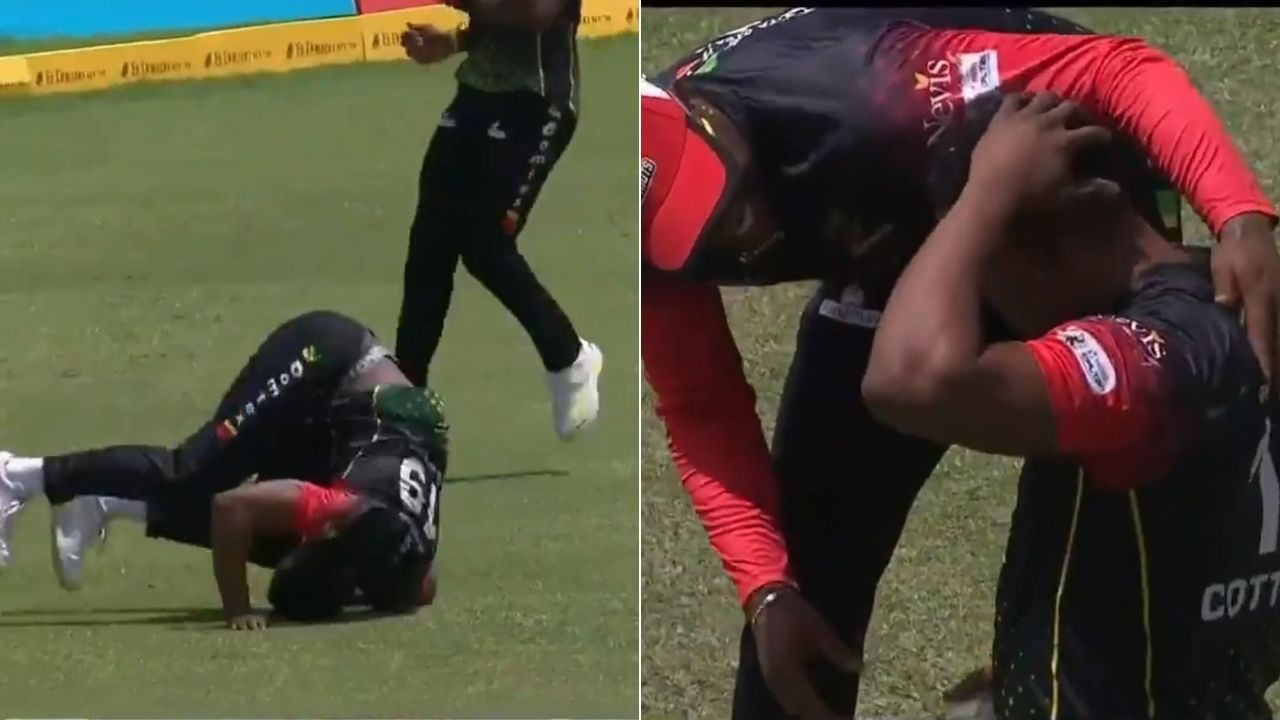 Sheldon Cottrell catch CPL final: Cottrell back-tracks sensationally to dismiss Andre Fletcher in CPL 2021 final
