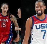 """""""You lucky I love you girl!"""": When Brittney Griner snuck in a kiss on Kevin Durant prior to Tokyo 2020 Opening Ceremony"""