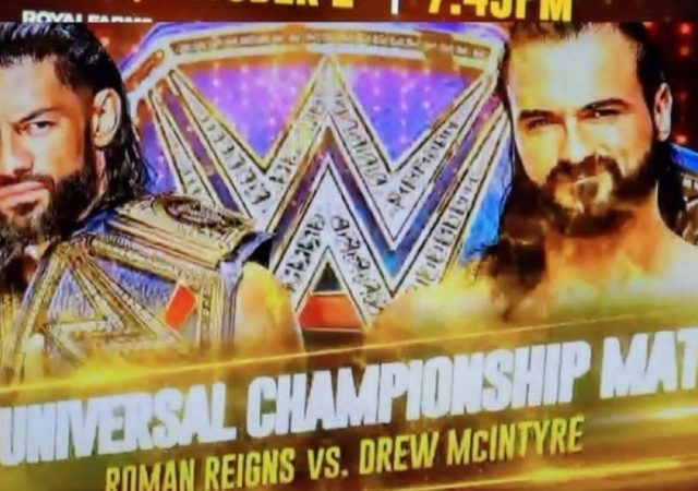 Roman Reigns will defend Universal Championship against Drew McIntyre