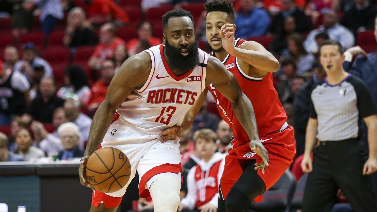 """""""James Harden is arguably the best two guard in the league in pick-and-rolls"""": CJ McCollum explains how The Beard is a """"deadly iso player"""" while breaking down his game"""