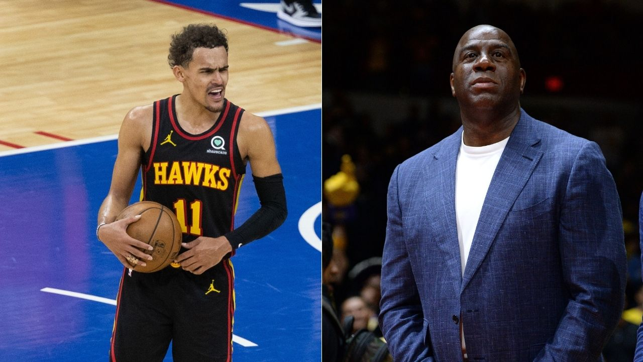 """""""Trae Young, do your thing man, that playoff was stupid"""": Magic Johnson showing his love for Atlanta Hawks star behind the scenes of NBA 75th Anniversary video"""