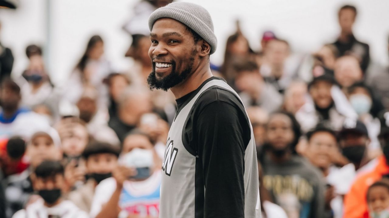 """""""Kevin Durant, you're the best player ever"""": Young Brooklyn fan gets the Nets superstar to blush after snubbing Michael Jordan or LeBron James as his GOAT"""