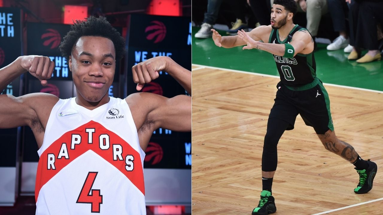 """""""Even LeBron James isn't as athletic as Scottie Barnes was on the play"""": NBA Twitter gushes over the Raptors' rookie after blocking Jayson Tatum and finishing the play with an emphatic dunk"""
