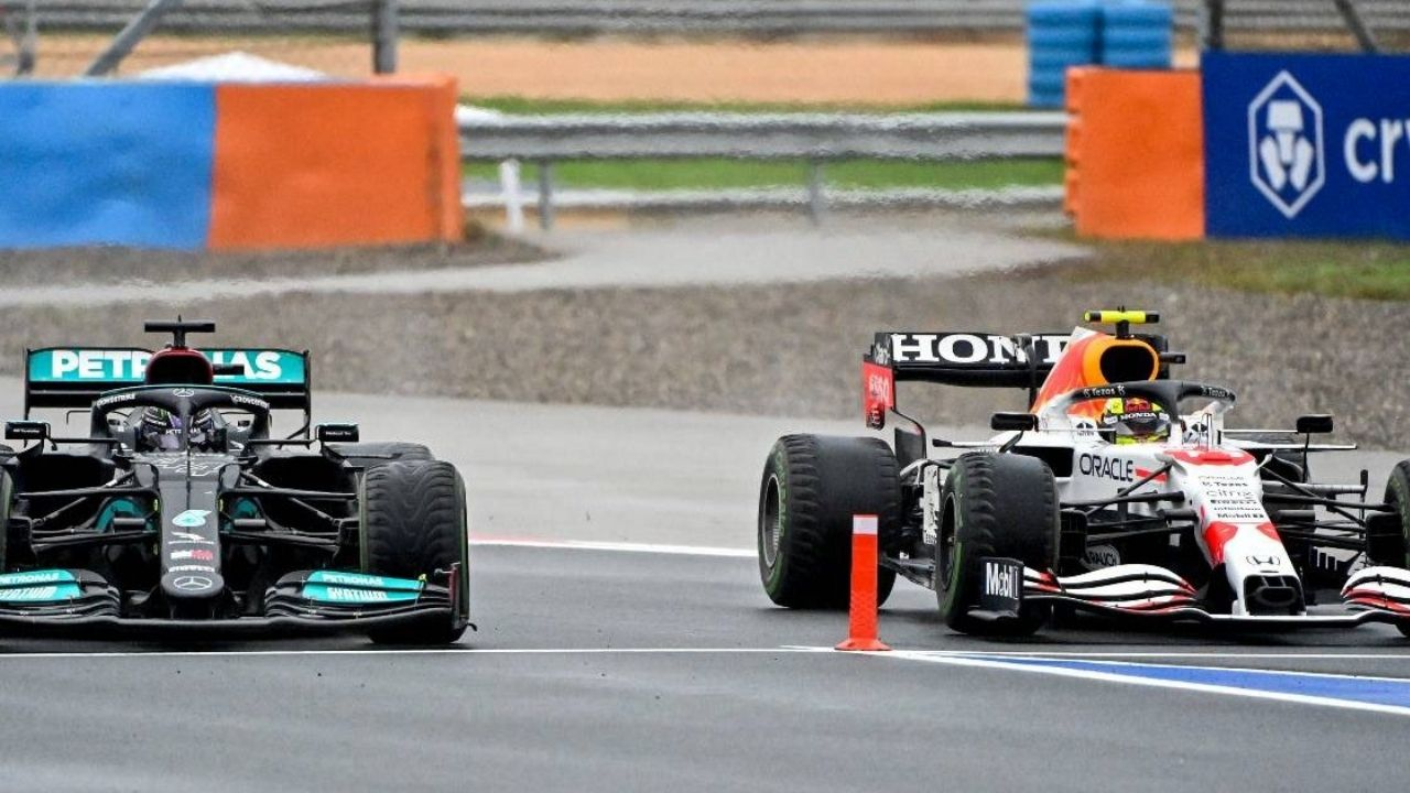 """""""I had a look at it""""– FIA explains why Sergio Perez-Lewis Hamilton bollard breach incident was investigated as seven-time world champion allegedly tried to shove Red Bull star into pitlane entry"""
