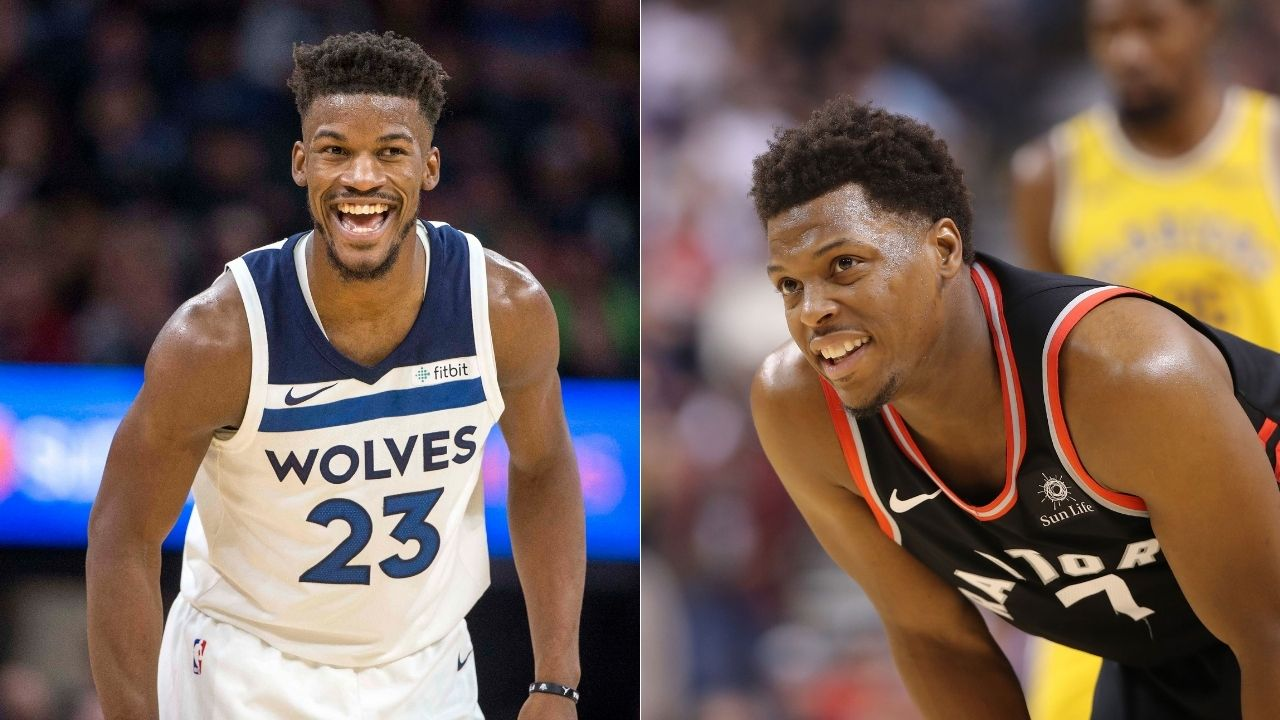 """""""Keep your hands to yourself"""": Jimmy Butler hilariously shoves Kyle Lowry for an unsolicited love tap during Heat's blowout of the Rockets in preseason"""