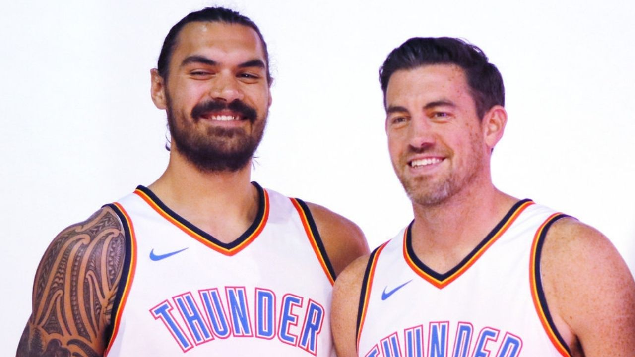 """""""Steven Adams and Nick Collison had the manliest handshake"""": How the former OKC Thunder stars hilariously bombed video while shaking hands"""
